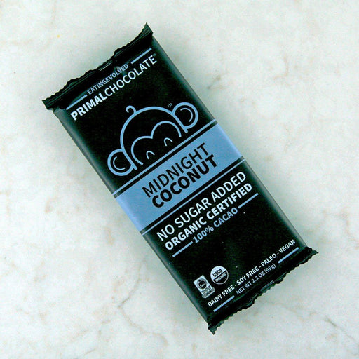 Eating Evolved Primal Chocolate Bar - Midnight Coconut, 100% Cacao