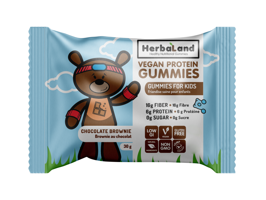 Buy Herbaland Protein Gummies for Kids Chocolate Brownie from Pure Feast