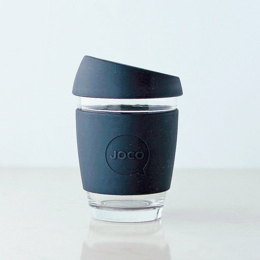 JOCO Reusable Glass Coffee Cup – 12oz / 355ml, Black