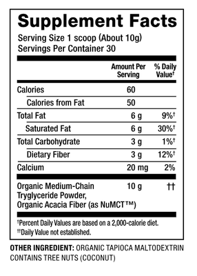 Nutiva Organic MCT Powder, Chocolate