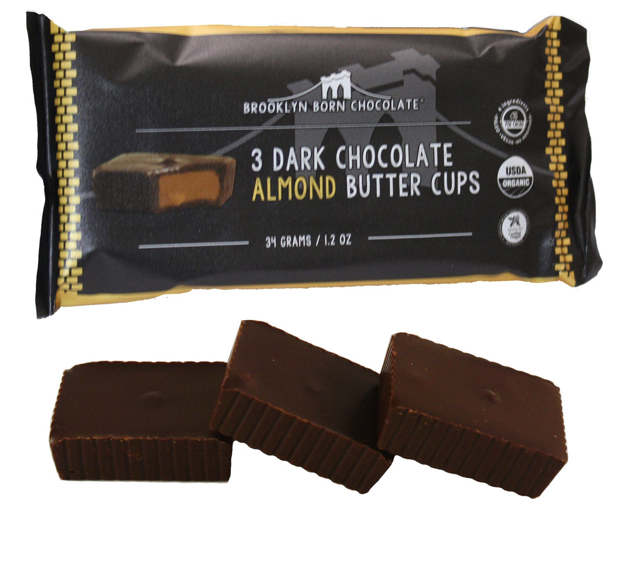 Buy Brooklyn Born Chocolate Dark Chocolate Almond Butter Cups - Package of 3 at Pure Feast