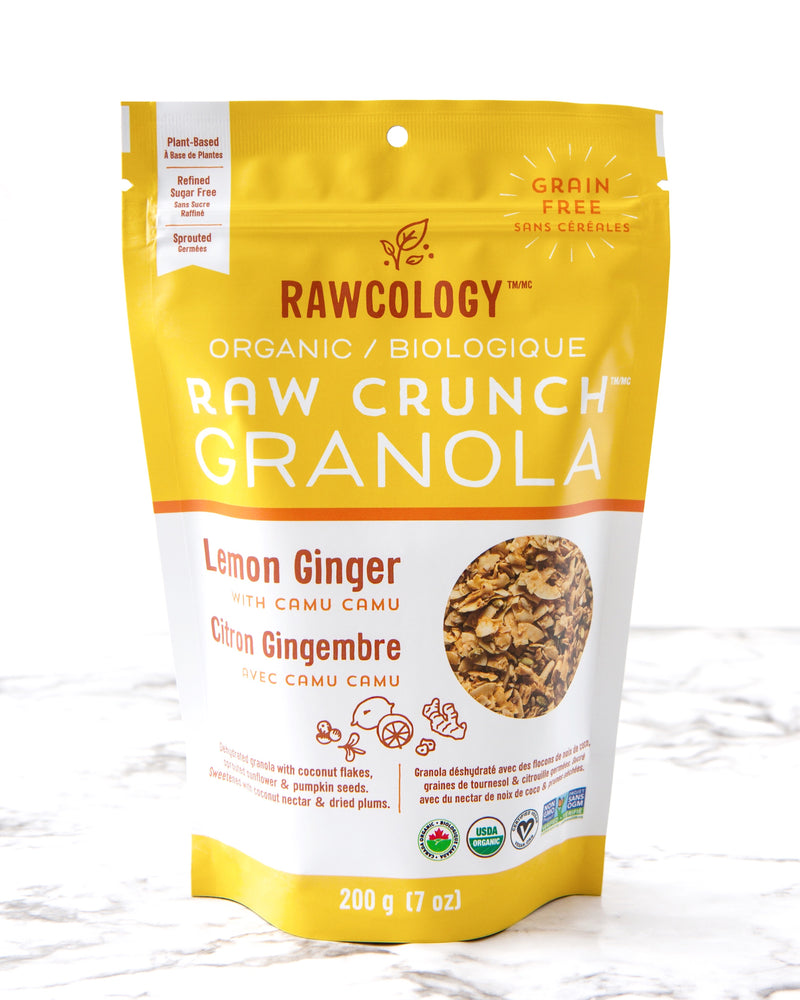 Rawcology Lemon Ginger with Camu Camu Raw Crunch Granola at Pure Feast