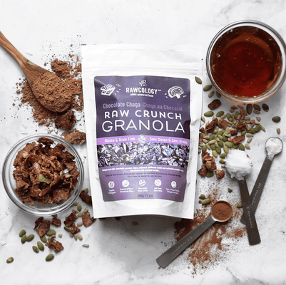 Rawcology Chocolate with Raw Cacao Raw Crunch Granola