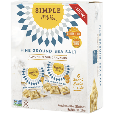 Simple Mills Fine Ground Sea Salt Almond Flour Cracker Snack Pack, 6 Bags