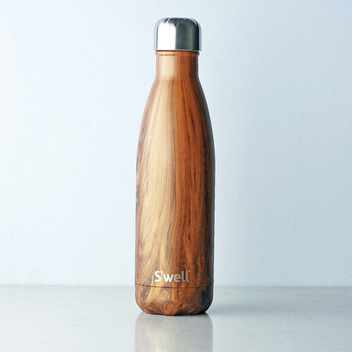 S'well Stainless Steel Water Bottle, Wood Collection – Teakwood, 17oz / 500ml