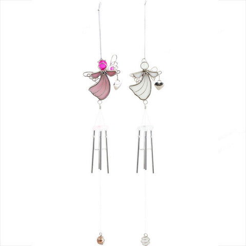 Angel Holding Heart Hanging Chimes - Pink, White