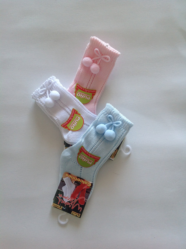 Traditional Spanish Baby Summer Pom Pom Knee Socks - Doodles and Daisy Chains - Spanish Baby Clothes - Classic Baby Boutique