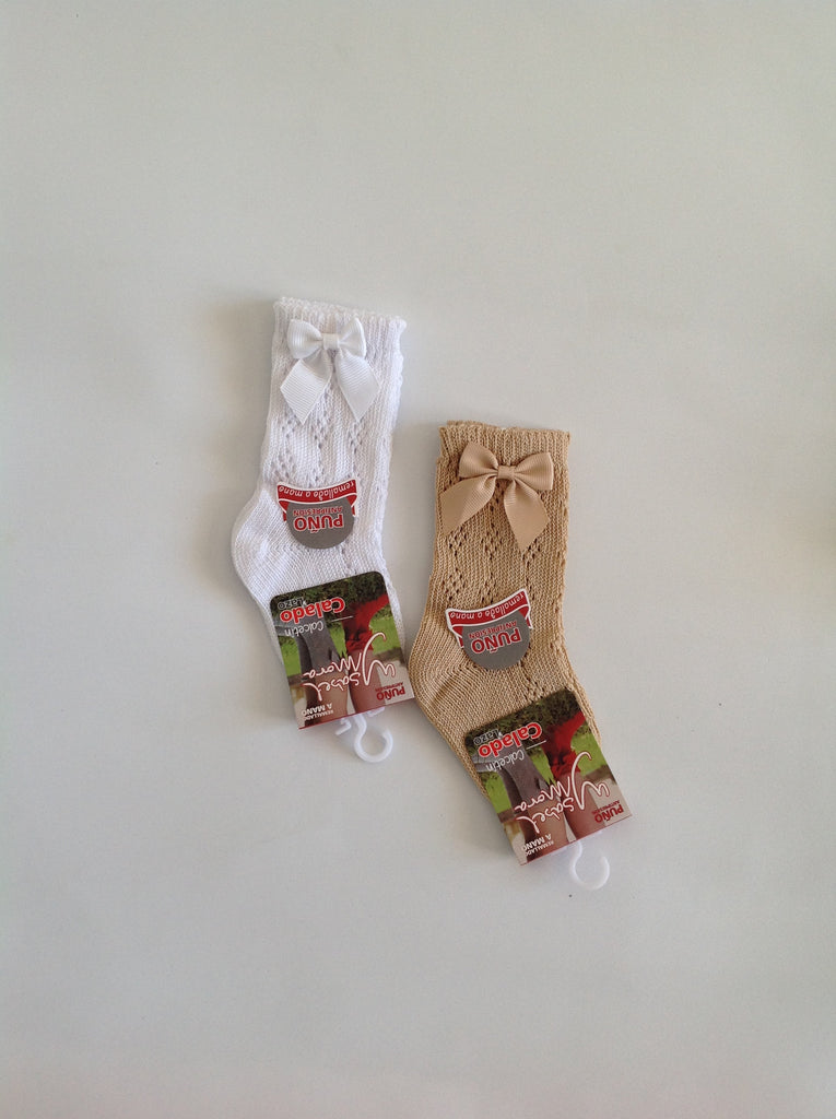 Traditional Spanish Baby Detail and Bow Knee Socks - Doodles and Daisy Chains - Spanish Baby Clothes - Classic Baby Boutique