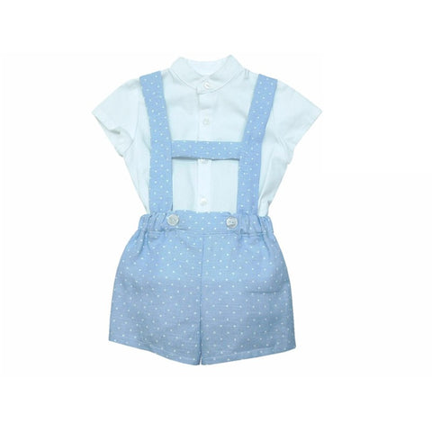 Harry Spanish Baby Boy H-Romper Set - Doodles and Daisy Chains - Spanish Baby Clothes - Classic Baby Boutique