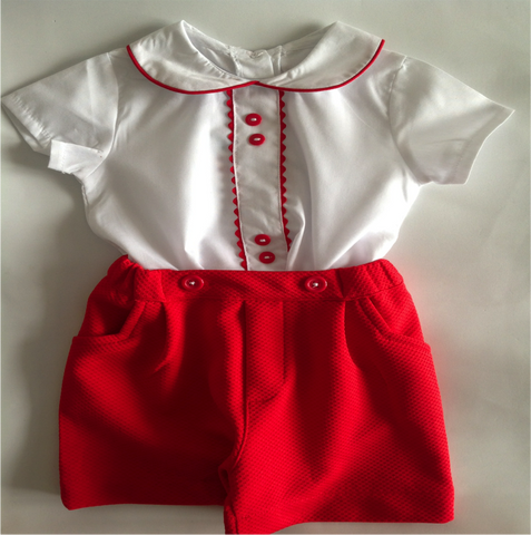 George Red Traditional Spanish Baby Boy Short Set - Doodles and Daisy Chains - Spanish Baby Clothes - Classic Baby Boutique