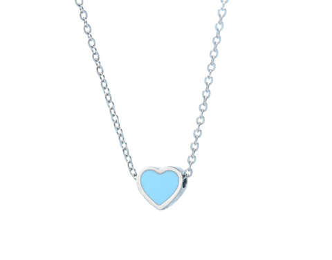 Enamel Silver Sliding Heart Necklace