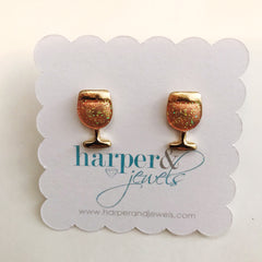 Rosé And Shine Glitter Stud Earrings