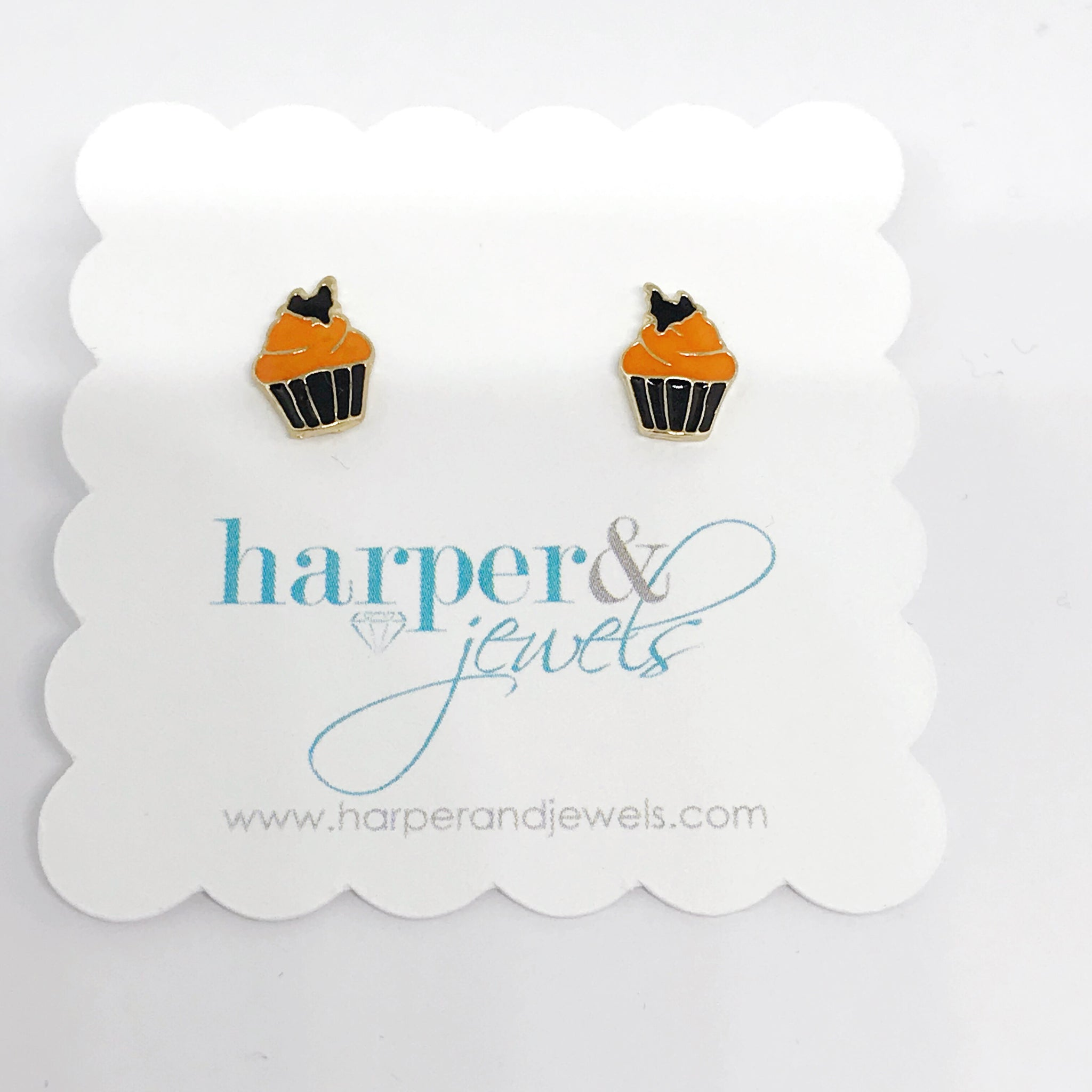 Fall Cupcake Stud Earrings