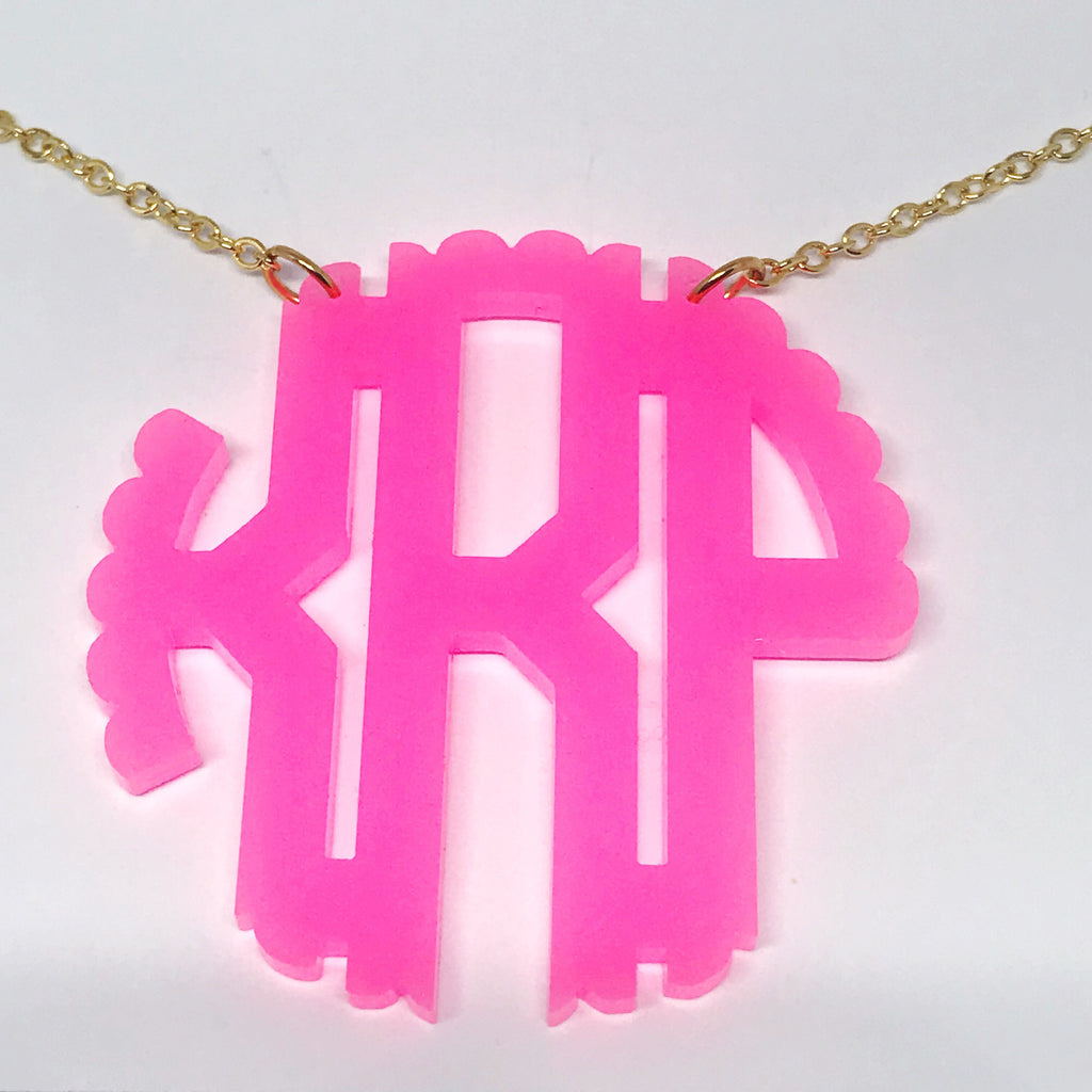 Scallop Edge Acrylic Block Monogram Necklace