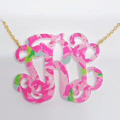 Patterned Acrylic Script Monogram Necklace