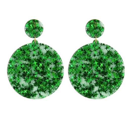 Glitter Star Acrylic Drop Earrings - Green