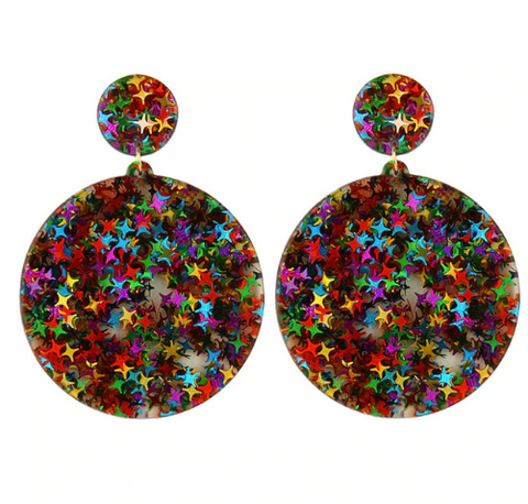 Glitter Star Acrylic Drop Earrings