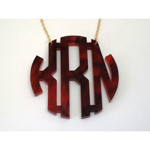 Acrylic Block Monogram Necklace