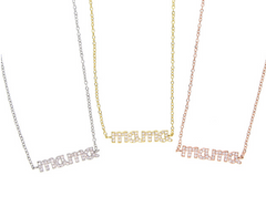 MAMA Pave CZ Sterling Silver Necklace