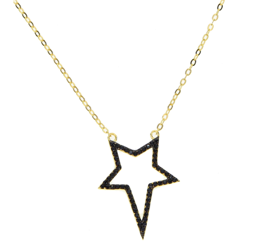 CZ Black Star Necklace