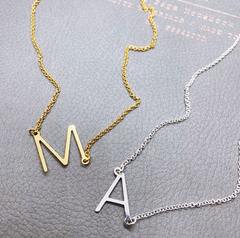 Sideways Initial Necklace - Gold