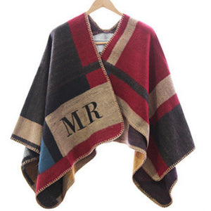 Plaid Monogram Poncho in multicolor