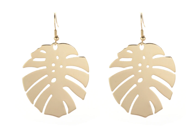 Palm Leaf Statement Earrings