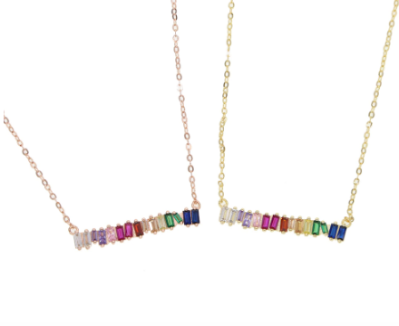 Rainbow Baguette Bar Necklace