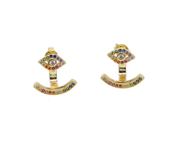 Rainbow CZ Evil Eye Ear Jackets