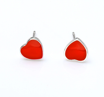Red and Silver Heart Stud Earrings