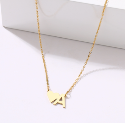 Stainless steel heart initial necklace
