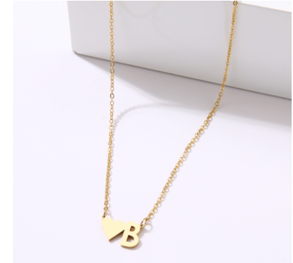 heart initial B necklace