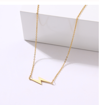 gold stainless steel lightning bolt necklace