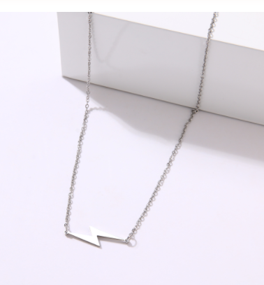 stainless steel lightning bolt necklace