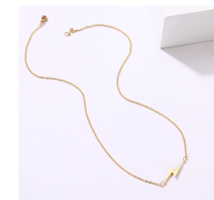 stainless steel gold lightning bolt necklace