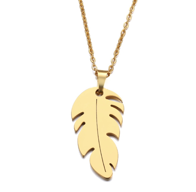 stainless steel leaf pendant necklace