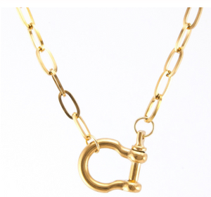 chain link shackle clasp necklace