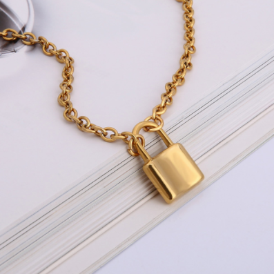 lock pendant on chain necklace