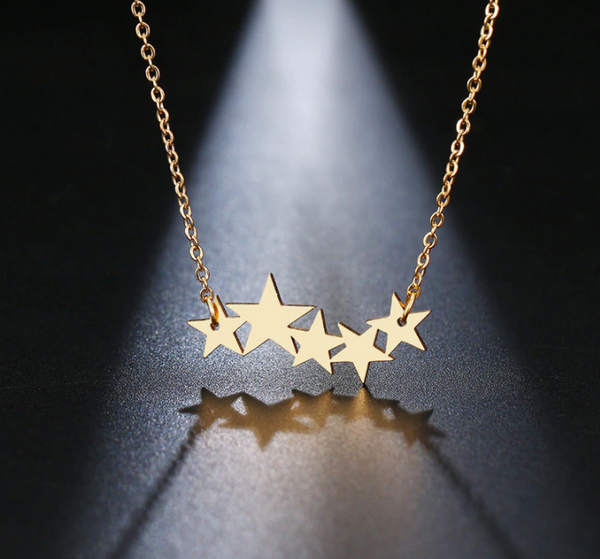 stainless steel star cluster necklace