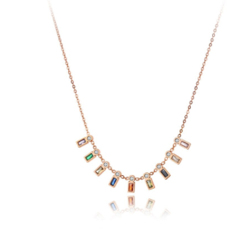 rose gold multi color stone necklace