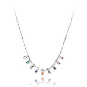 silver hanging multi color stone necklace