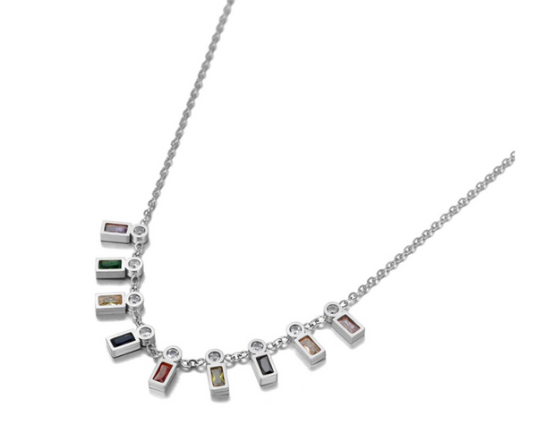 silver hanging color stone necklace