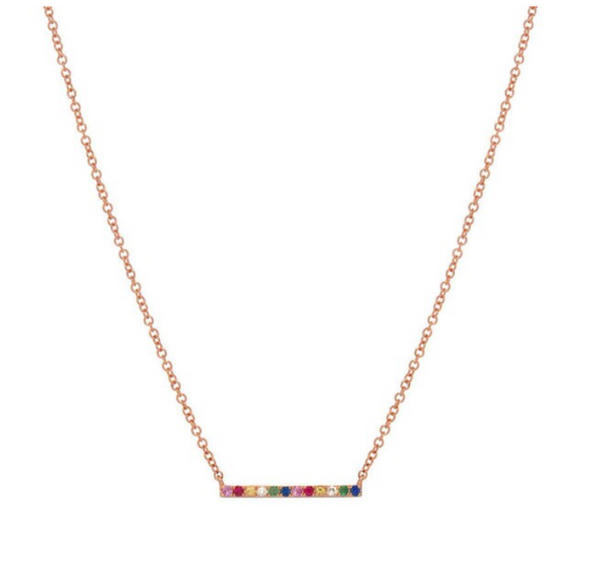 Tiny CZ Sterling Silver Rainbow Bar Necklace