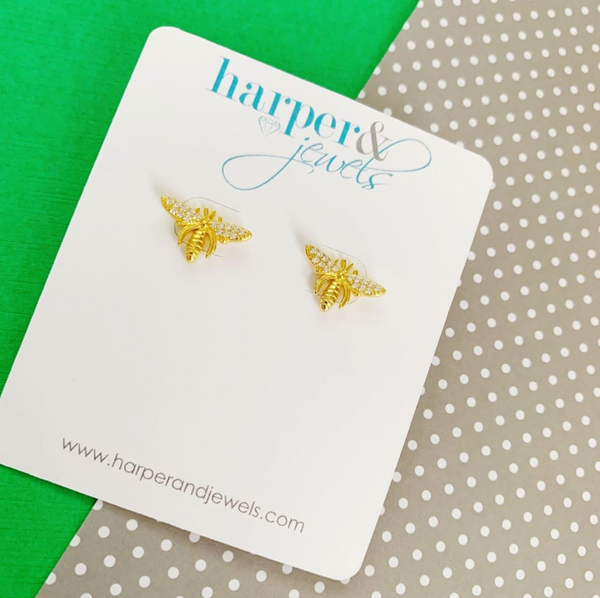 Buzzin' Bee Zircon Stud Earrings
