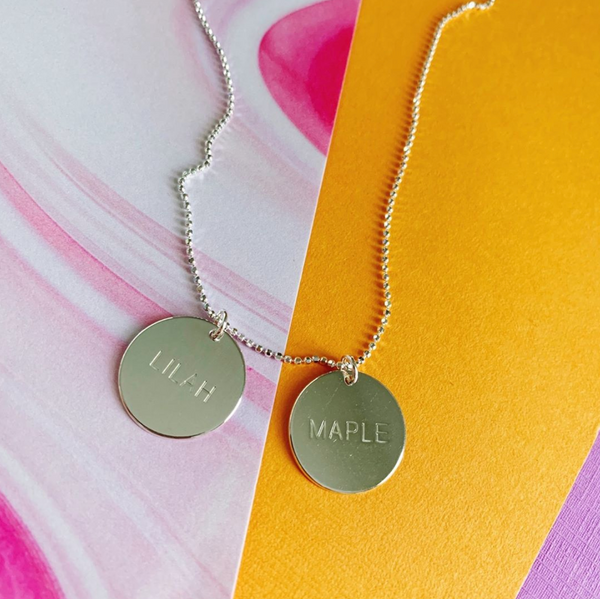 Double Engraved Disc Necklace - Silver