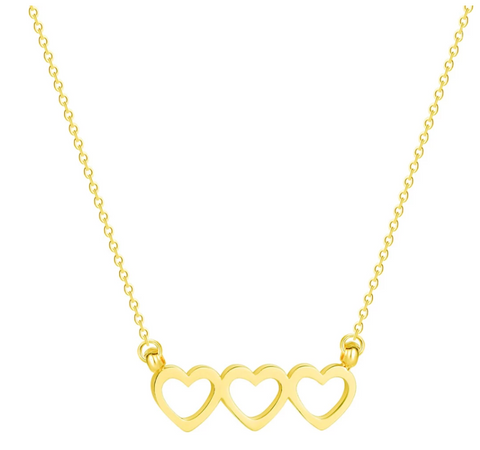 This is a stock image of our gold triple heart necklace on a white background