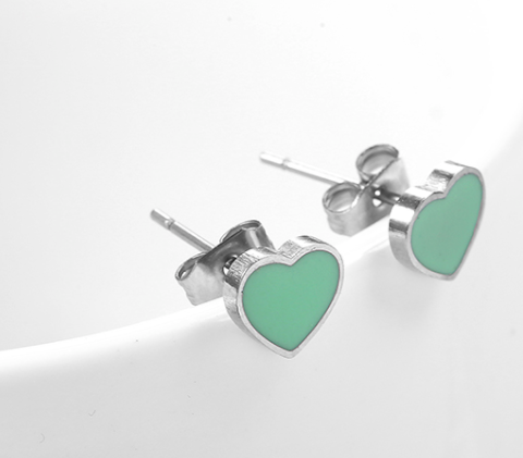 Enamel Silver Heart Earrings