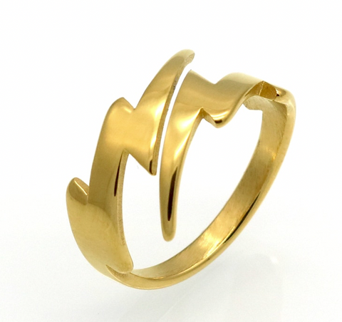 Bold Lightning Bolt Ring