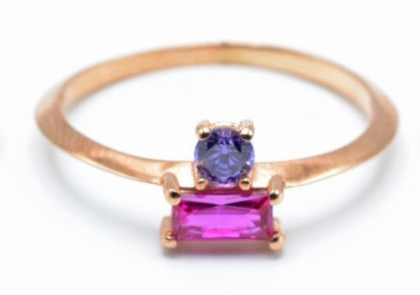 Double Stone Birthstone Ring