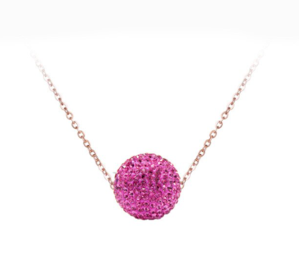 CZ Disco Ball Pendant Necklace
